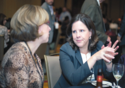Drs. Jayne Ness (L) and Anne Comi (R) compare notes following Anne's presentation of a late-breaking abstract outlining the Sturge Weber breakthrough that garnered a standing ovation in the ballroom.