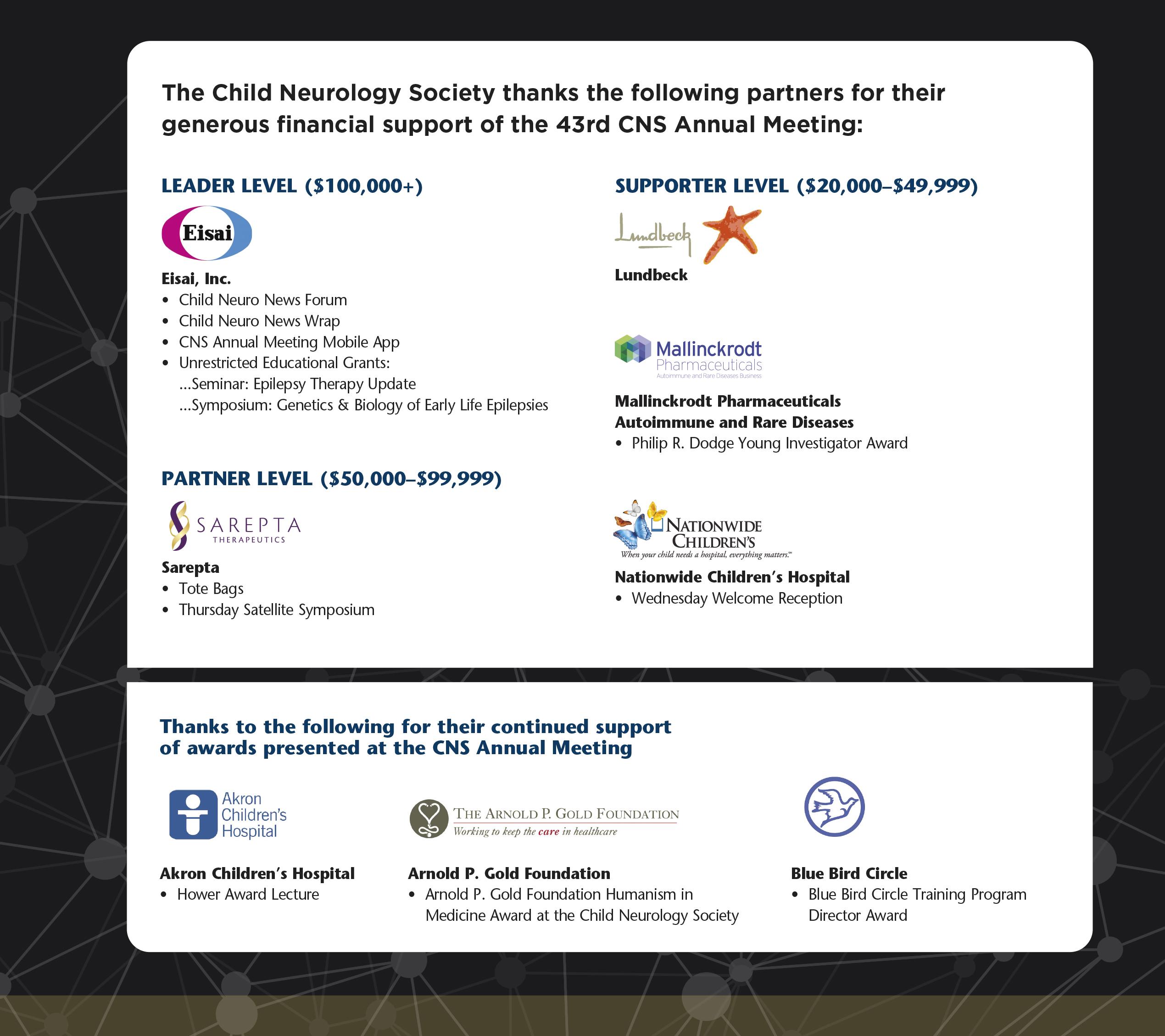 43th CNS Annual Meeting Sponsors