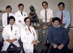 """All the Young Dudes""; Wash U, 1987. (Front row, l-r): Kel Yamada, Steve Leber, Gary Clark; (Back row, l-r): Jeff Neil, Scott Pomeroy, Ken Mack, Jan Mathisen"
