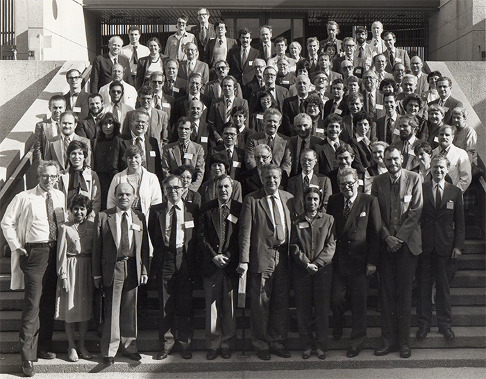 Jean Aicardi – 3rd from the left in the front row – at the 1985 Baltimore workshop on Rett syndrome.