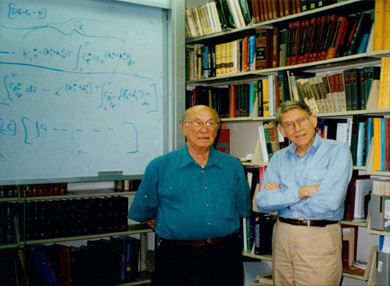 Lou Sokoloff (left) and Charles Kennedy (right) at the NIH
