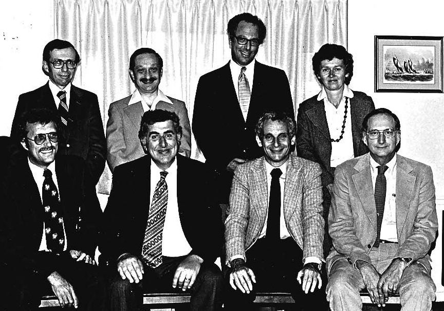 1979 CNS Executive Committee, on which Dr. Eiben served as Secretary-treasurer. Front Row (L-R): Drs. Paul Dyken, Arthur Prensky, N. Paul Rosman, Robert Eiben; Back Row (L-R): Drs. Gerald Golden, Gerald Erenberg, John Freeman, Mary Anne Guggenheim. Dr. Freeman passed away the week following Dr. Eiben's death. A tribute written by Dr. Rust will appear on this website on March 14.